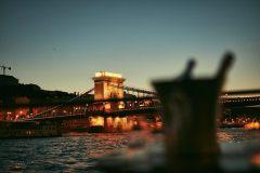 Beautiful Chain Bridge after sunset